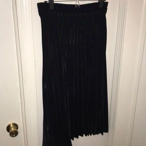 NWT Zara pleated velvet midi skirt